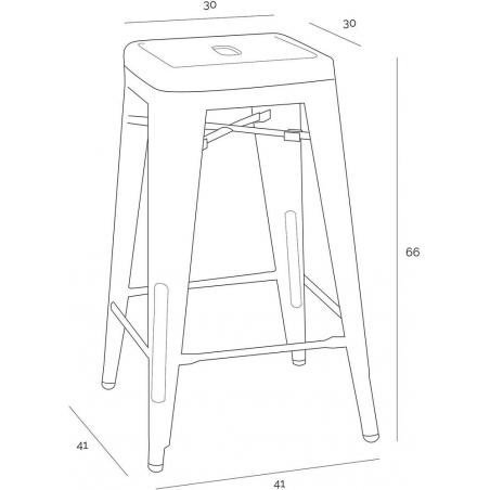 Paris 66 insp. Tolix red metal bar stool D2.Design