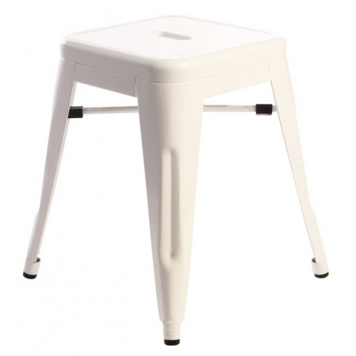 Paris white industrial metal stool D2.Design