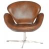 Designerski Fotel Cup insp. Swan Chair Leather Brązowy D2.Design do salonu i sypialni.
