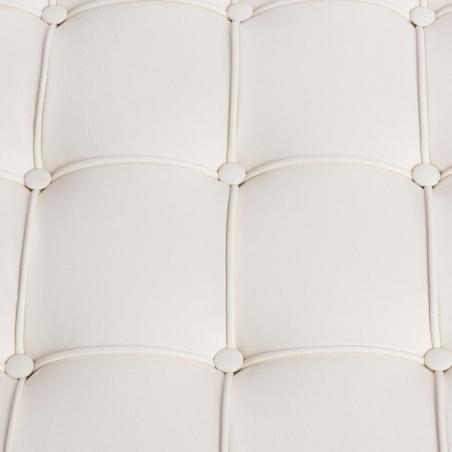 Stylowy Podnóżek skórzany pikowany insp. Barcelon (Otoman) Biały D2.Design do fotela.