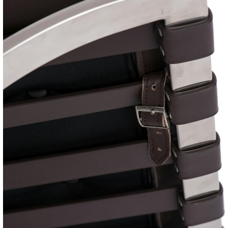 Stylowy Podnóżek skórzany pikowany insp. Barcelon (Otoman) Brązowy D2.Design do fotela.