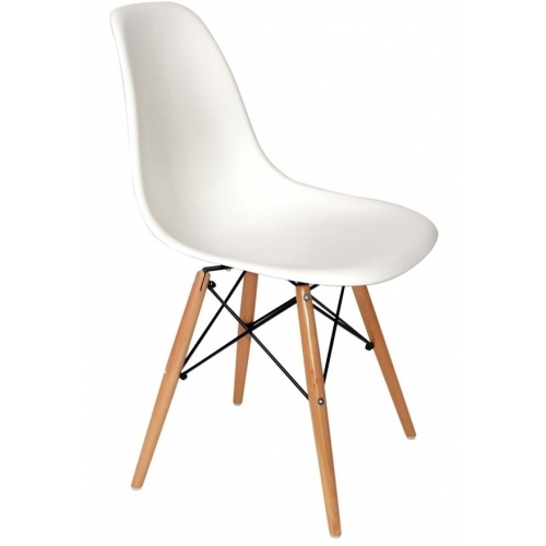 DSW Armless white scandinavian chair with wooden legs D2.Design