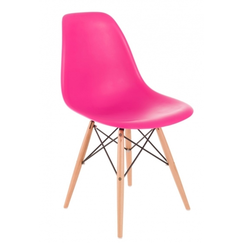 DSW Armless pink polypropylene chair with wooden legs D2.Design