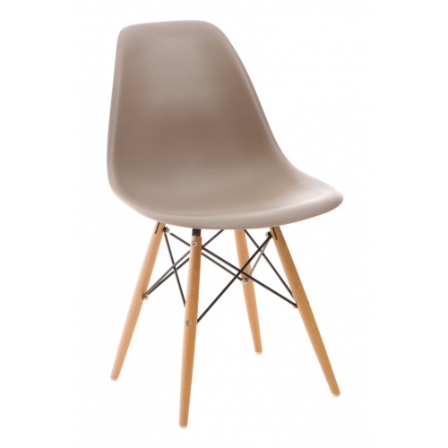 DSW Armless taupe scandinavian chair with wooden legs D2.Design