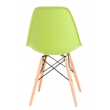 DSW Armless lime green plastic chair with wooden legs D2.Design