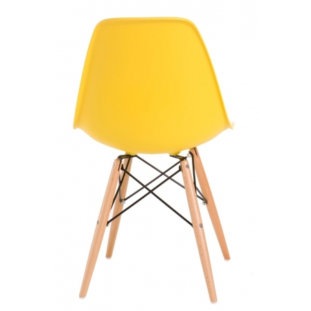 DSW Armless yellow plastic scandinavian chair with wooden legs D2.Design