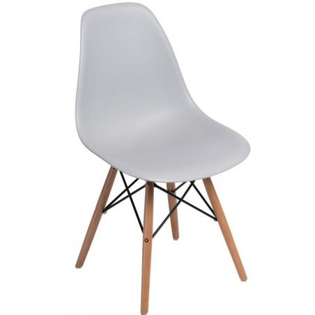 DSW Armless light grey plastic scandinavian chair with wooden legs D2.Design