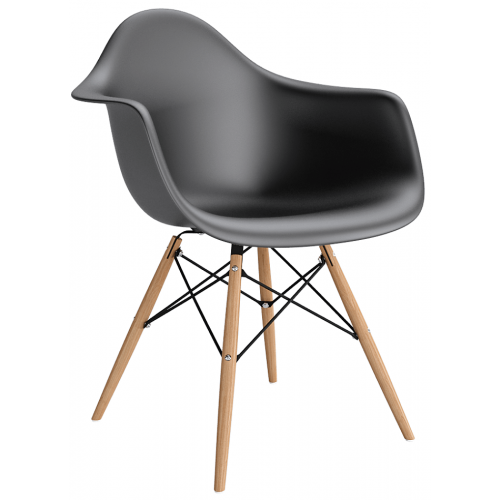 Daw black scandinavian chair with armrests D2.Design