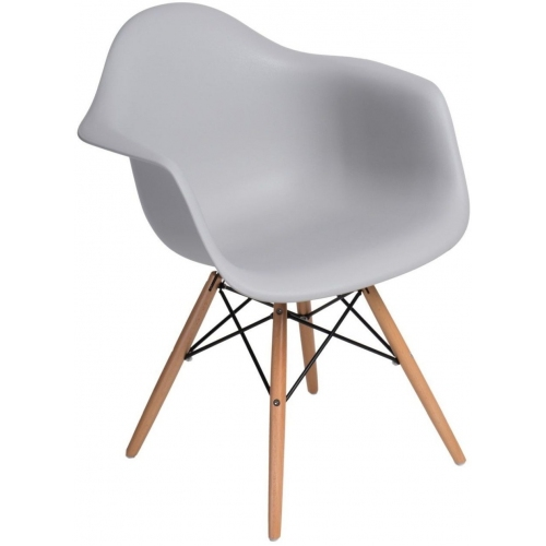 Daw light grey scandinavian chair with armrests D2.Design