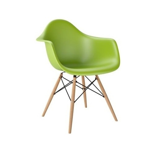 Daw green plastic chair with armrests D2.Design