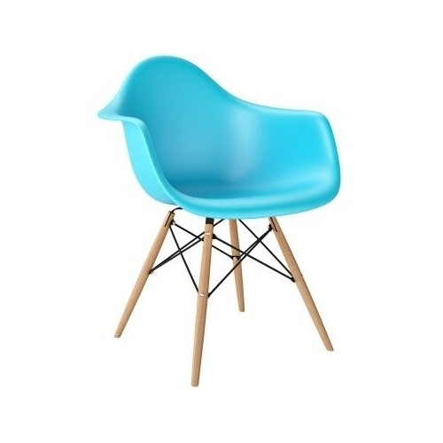 Daw blue plastic chair with armrests D2.Design