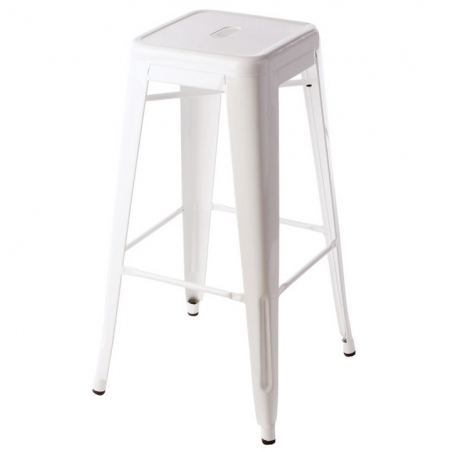 Paris 75 High insp. Tolix white metal bar stool D2.Design