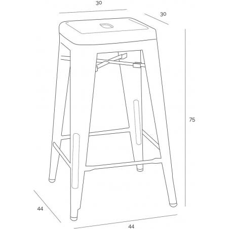 Paris 75 High insp. Tolix white metal bar stool D2.Design