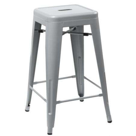 Paris 75 High insp. Tolix grey metal bar stool D2.Design