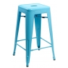 Paris 75 High insp. Tolix blue metal bar stool D2.Design