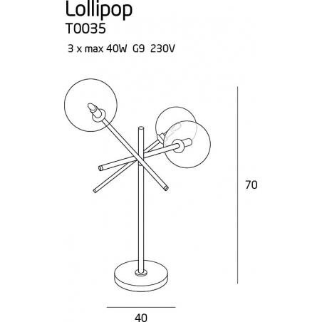 Designerska Lampa stołowa szklana Lollipop MaxLight do sypialni. Kolor przeźroczysty