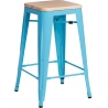 Paris 75 Wood natural&blue metal bar stool D2.Design