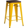 Paris 75 Wood walnut&yellow metal bar stool D2.Design