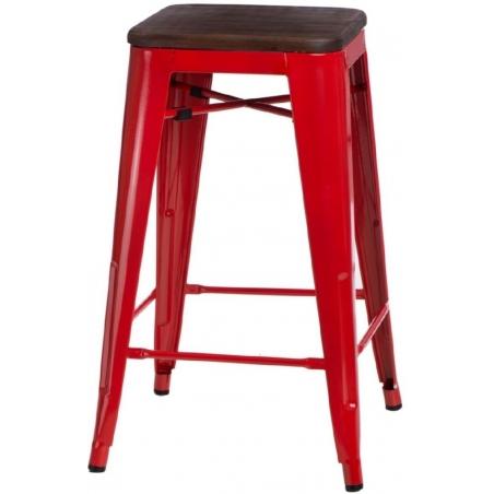 Paris 75 Wood walnut&red metal bar stool D2.Design