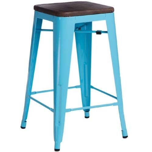 Paris 75 Wood walnut&blue metal bar stool D2.Design