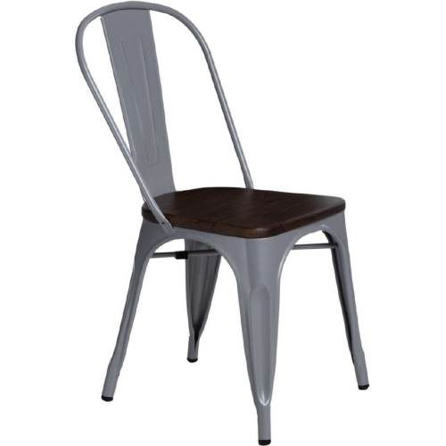 Paris Wood walnut&silver metal chair D2.Design