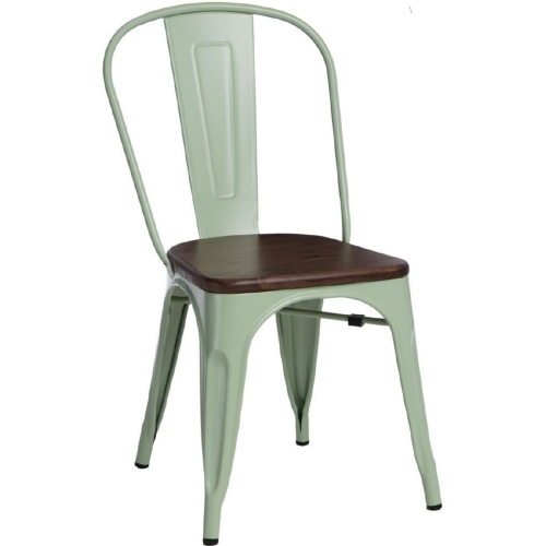 Designerskie Krzesło metalowe Paris Wood Orzech D2.Design do kuchni. Kolor czarny
