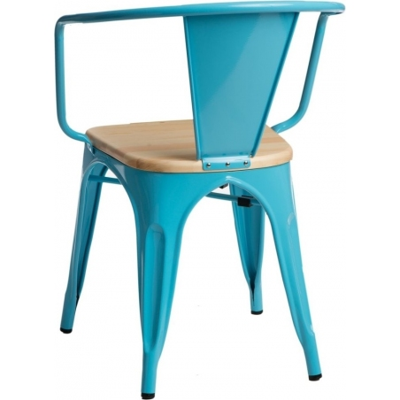 Paris Arms Wood natura&lblue metal chair with armrests D2.Design
