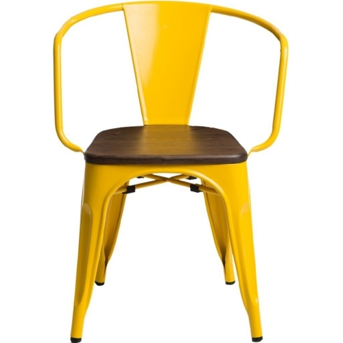 Paris Arms Wood walnut&yellow metal chair with armrests D2.Design