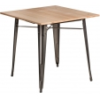 Krzesło Paris Arms Wood Orzech z podłokietniakami i drewnianym siedziskiem