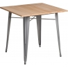 Paris Wood 76x76 silver&natural industrial square dining table D2.Design