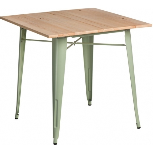 Paris Wood 76x76 green&natural wooden square dining table D2.Design