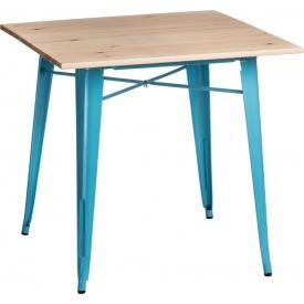 Paris Wood 76x76 blue&natural wooden square dining table D2.Design