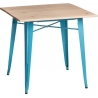 Paris Wood 76x76 blue&natural wooden square dining table D2.Design