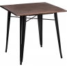 Paris Wood 76x76 black&walnut industrial square dining table D2.Design