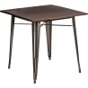 Paris Wood 76x76 metal&walnut industrial square dining table D2.Design