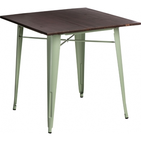 Paris Wood 76x76 green&walnut industrial square dining table D2.Design