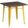 Paris Wood 76x76 yellow&walnut industrial square dining table D2.Design