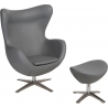 Jajo Eco-Leather grey swivel armchair with footrest D2.Design