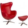 Designerski Fotel z podnóżniem Jajo Leather Czerwony D2.Design do salonu i sypialni.
