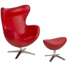 Jajo Eco-Leather red swivel armchair with foot rest D2.Design