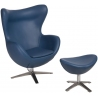 Jajo Eco-Leather dark blue swivel armchair with footrest D2.Design