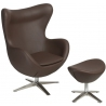 Jajo Eco-Leather brown swivel armchair with footrest D2.Design