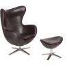 Designerski Fotel z podnóżniem Jajo Leather Ciemny brąz D2.Design do salonu i sypialni.