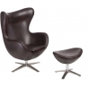 Jajo Eco-Leather dark brown swivel armchair with footrest D2.Design