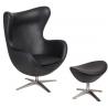 Designerski Fotel z podnóżniem Jajo Leather Czarny D2.Design do salonu i sypialni.