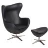 Jajo Eco-Leather black swivel armchair with footrest D2.Design
