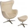 Designerski Fotel z podnóżniem Jajo Leather Beżowy D2.Design do salonu i sypialni.