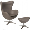 Jajo Eco-Leather khaki swivel armchair with foorest D2.Design