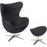Designerski Fotel tapicerowany z podnóżkiem Jajo Czarny D2.Design do salonu i sypialni.