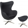 Jajo black swivel armchair with footrest D2.Design